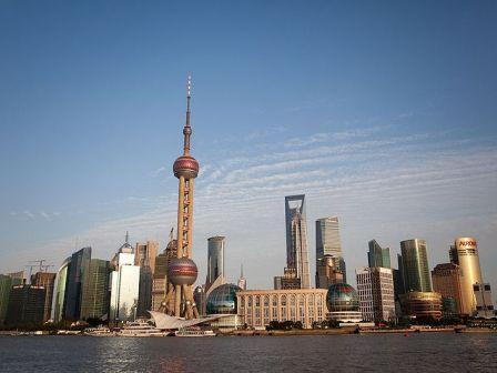 Вид на небоскребы Пудуна с набережной, Шанхай