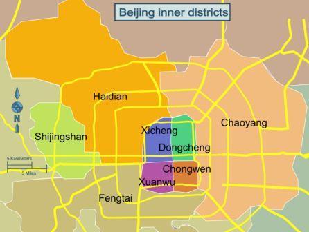 На фото: административная карта Пекина
