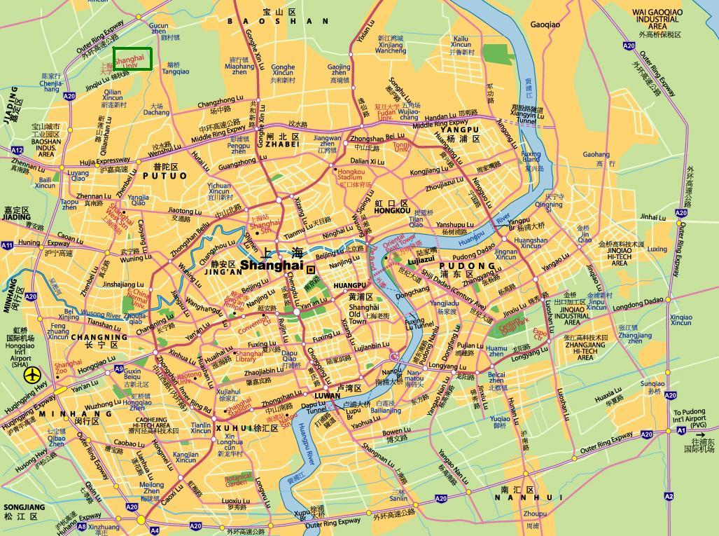 Shanghai University на карте Шанхая