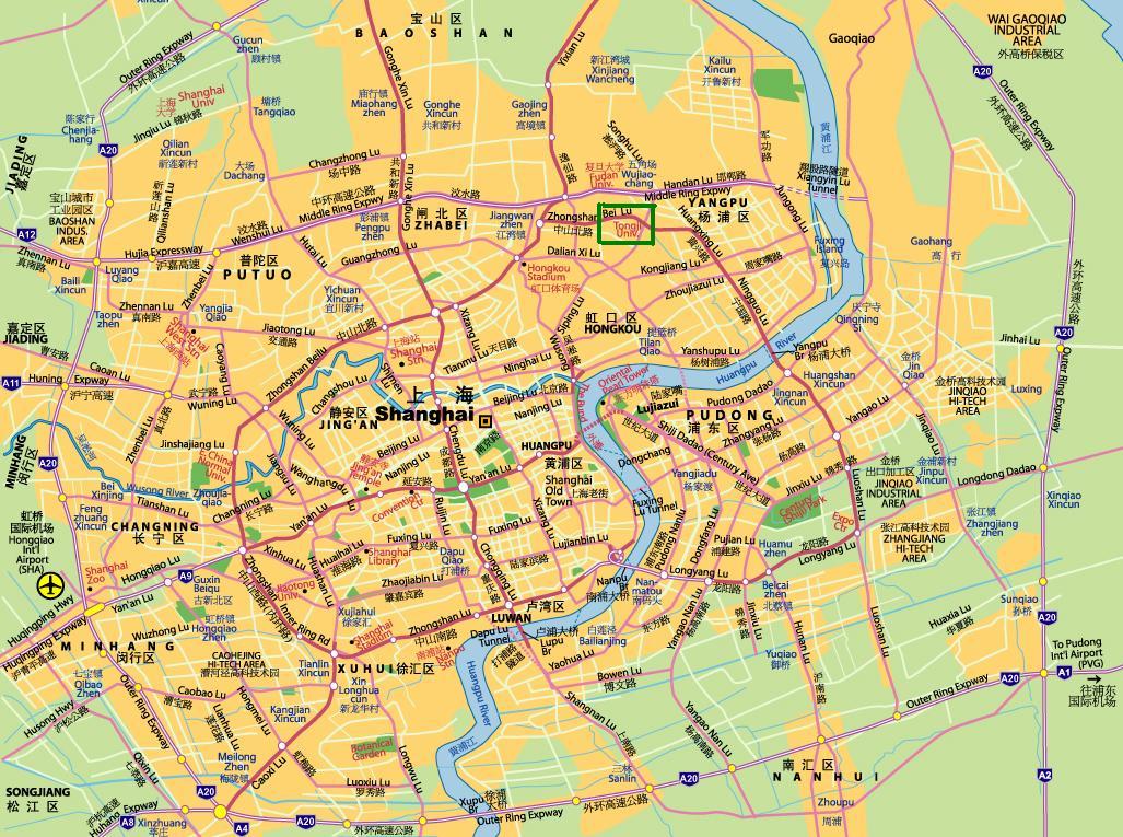 Tongji University на карте Шанхая