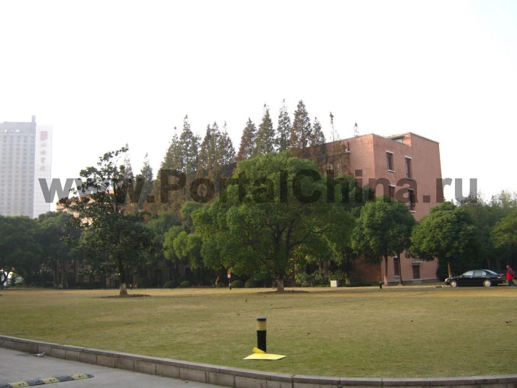 На территории Университета Дунхуа много деревьев и зеленых газонов.