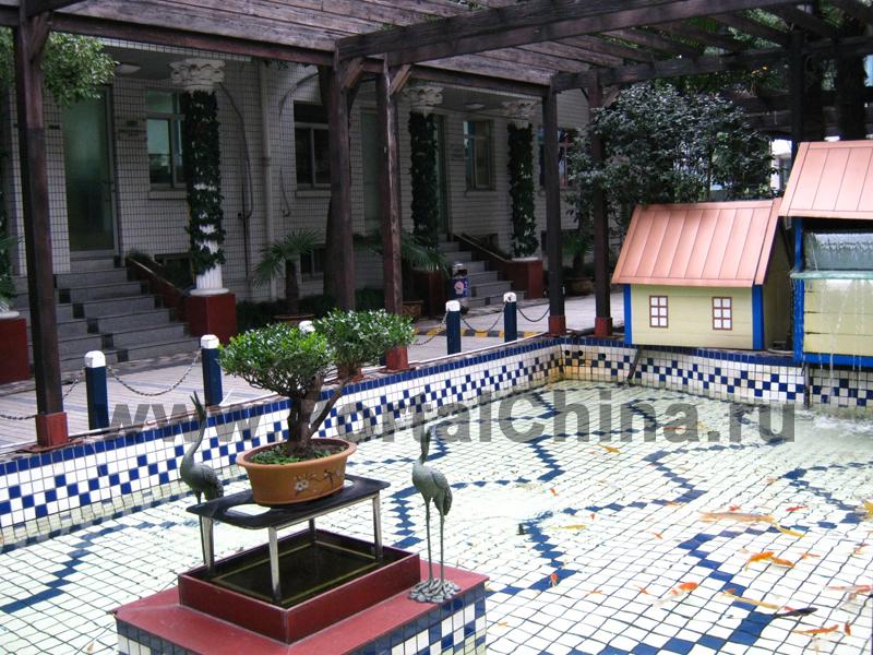Shanghai Jiao Tong University – Chinese Language Centre, внутренний двор, статуэтки и кустарники